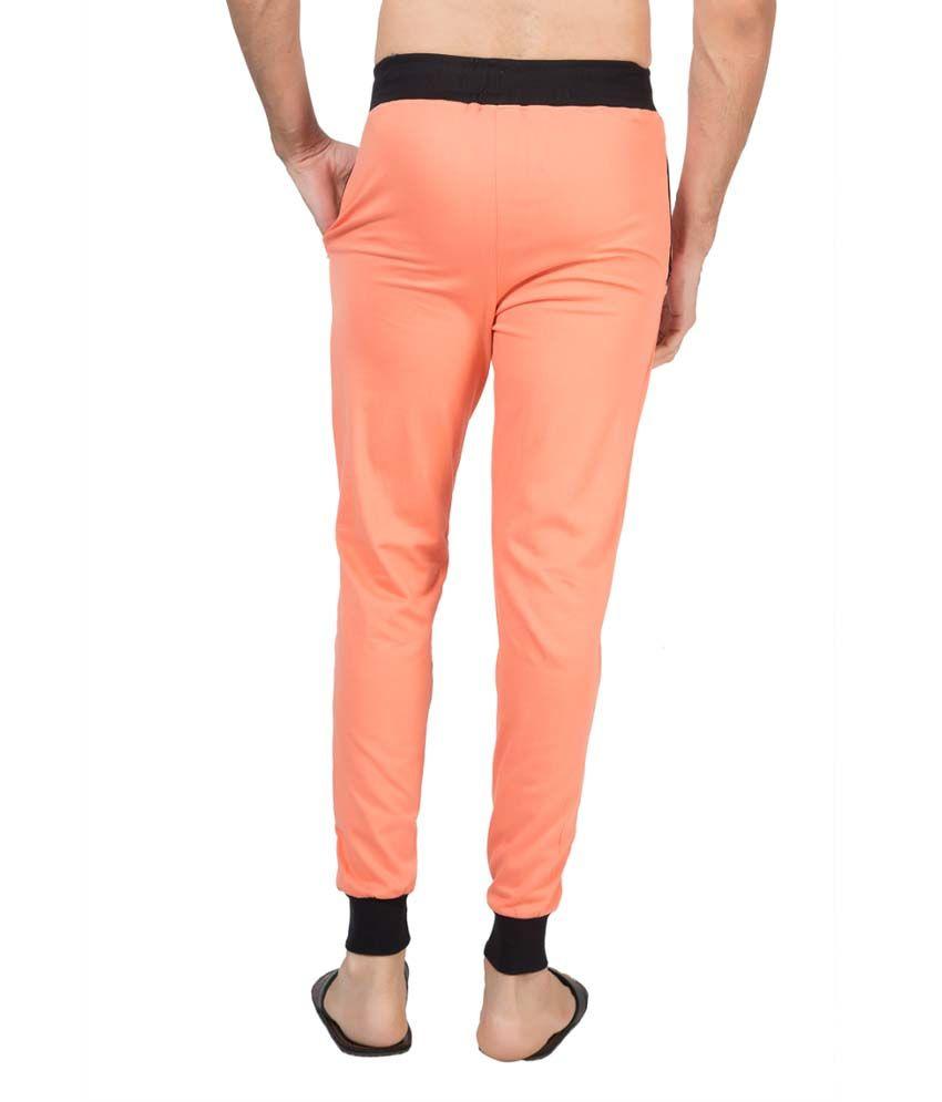 Clifton Fitness Men's Ribbed Slim Fit Track Pant -Deep Orange