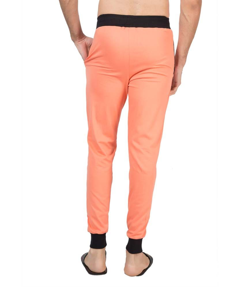 Clifton Fitness Men's Ribbed Slim Fit Track Pant -Deep Orange