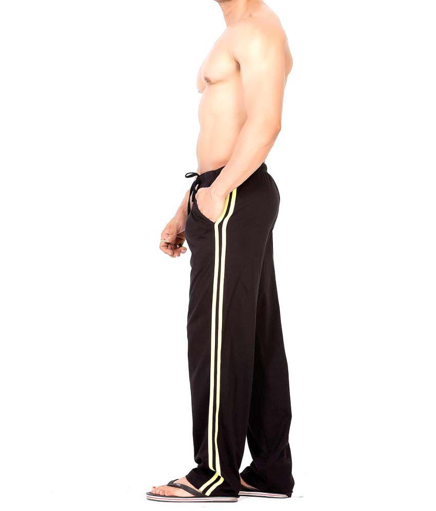 Clifton Fitness Men's Track Pant Striper -Black & Yellow