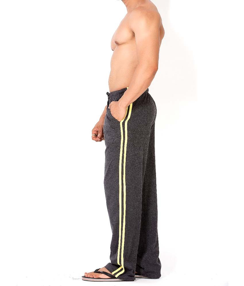 Clifton Fitness Men's Track Pant Striper -Charcoal & Yellow