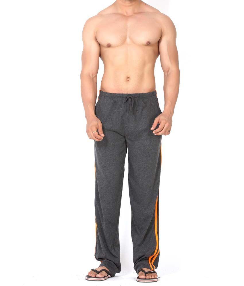 Clifton Fitness Men's Track Pant Striper -Charcoal & Bright Orange