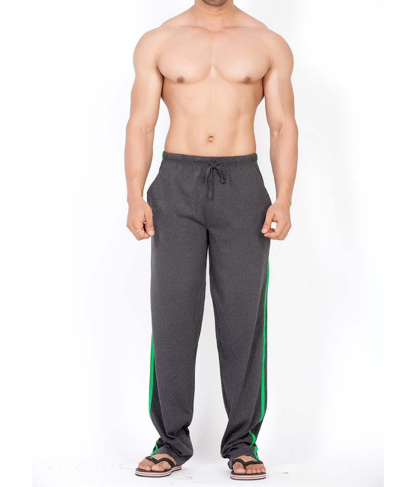 Clifton Fitness Men's Track Pant Striper -Charcoal & Deep Green
