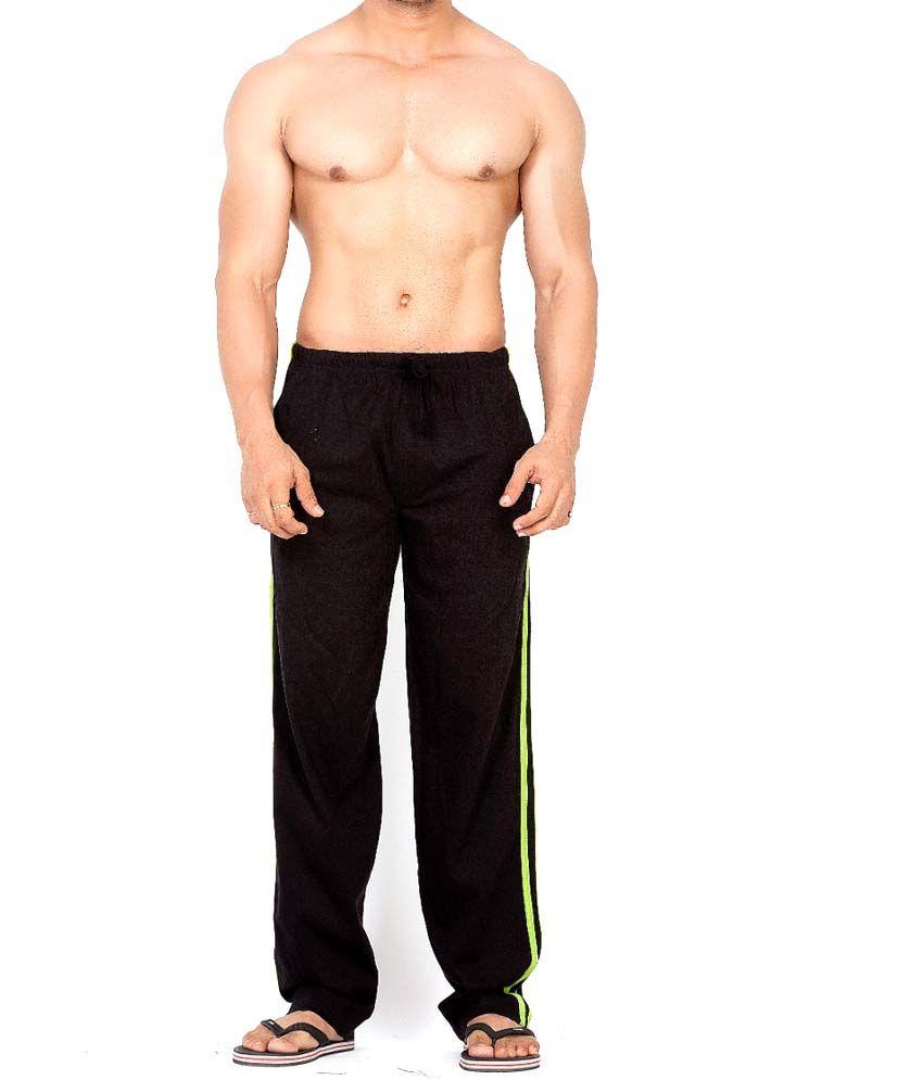 Clifton Fitness Men's Track Pant Striper -Black & Parrot Green
