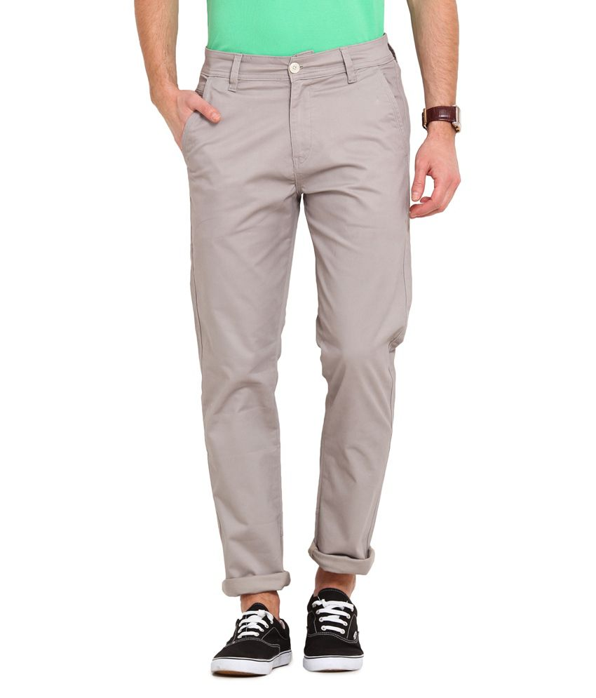 Ennoble Grey Slim Fit Chinos