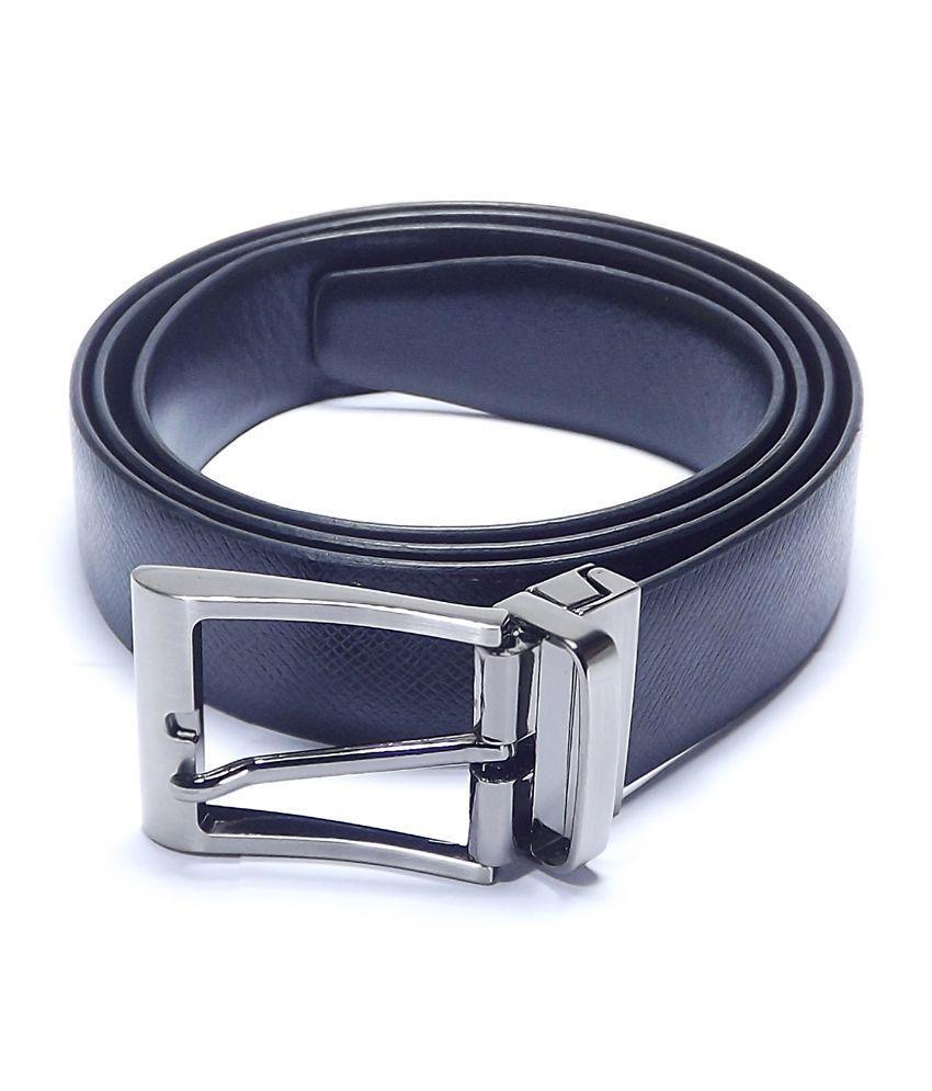 Mentiezi Black Leather Reversible Belt For Men