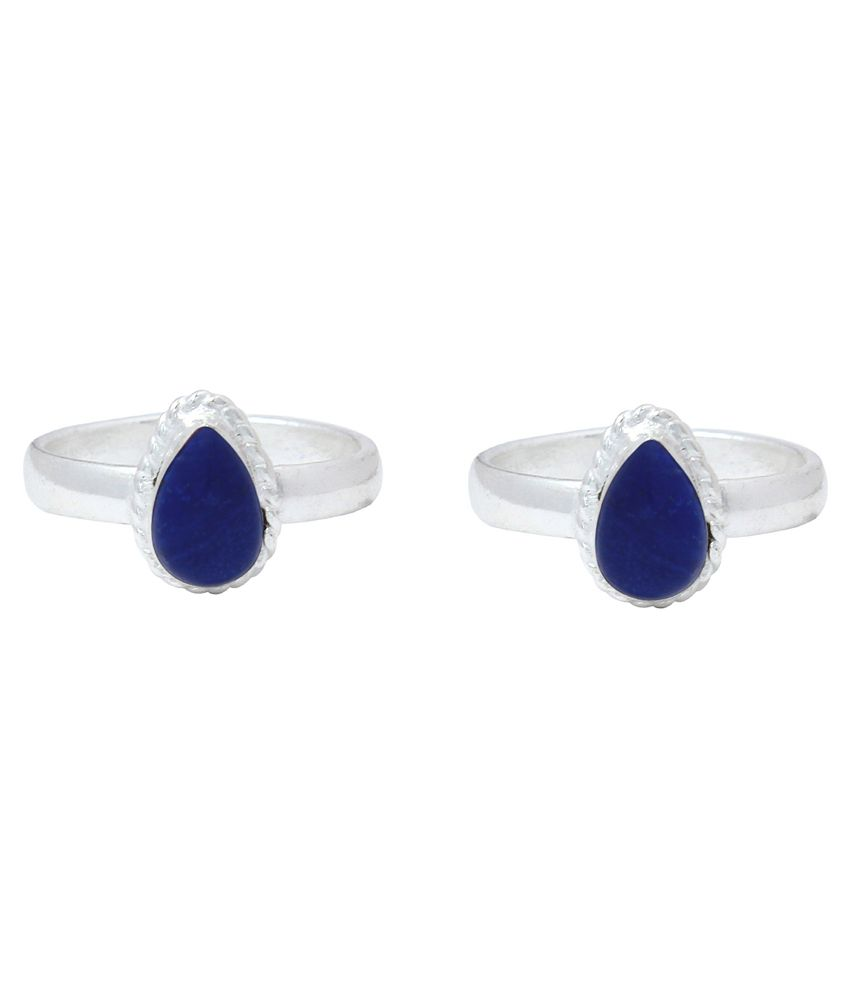Ranvijay Blue Designer Toe Rings