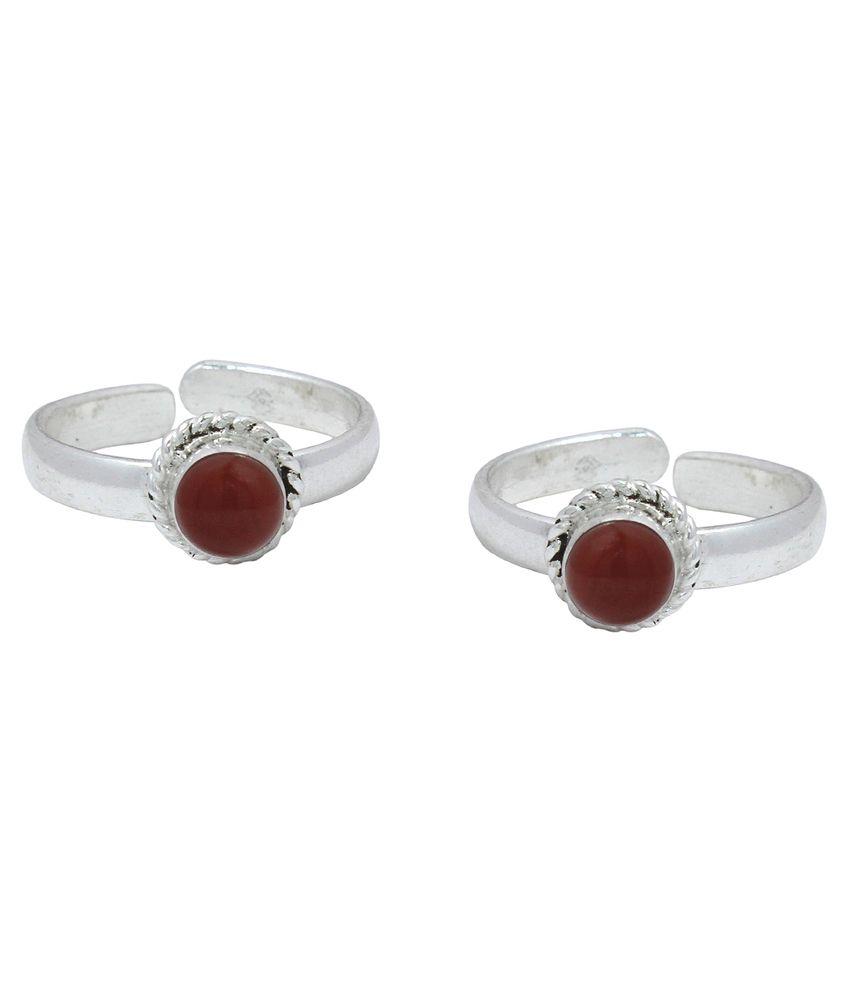 Ranvijay Red Designer Toe Rings
