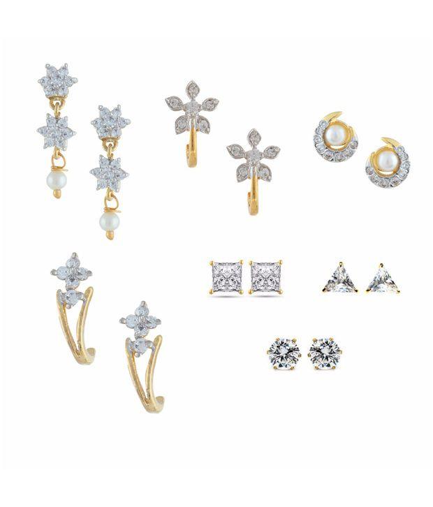 Parijaat Combo of Gold Plated CZ Studs Earrings