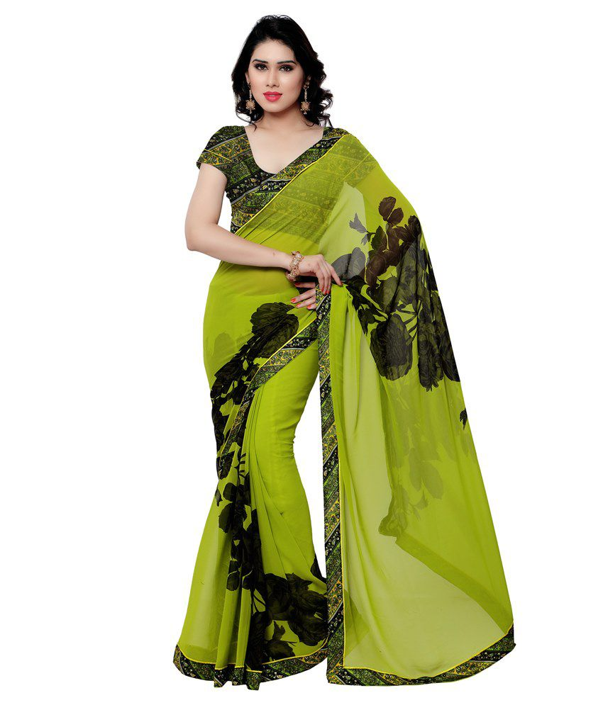 Saree Mall Green Faux Georgette Saree