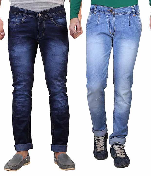 X-cross Blue Slim Fit Jeans Pack Of 2