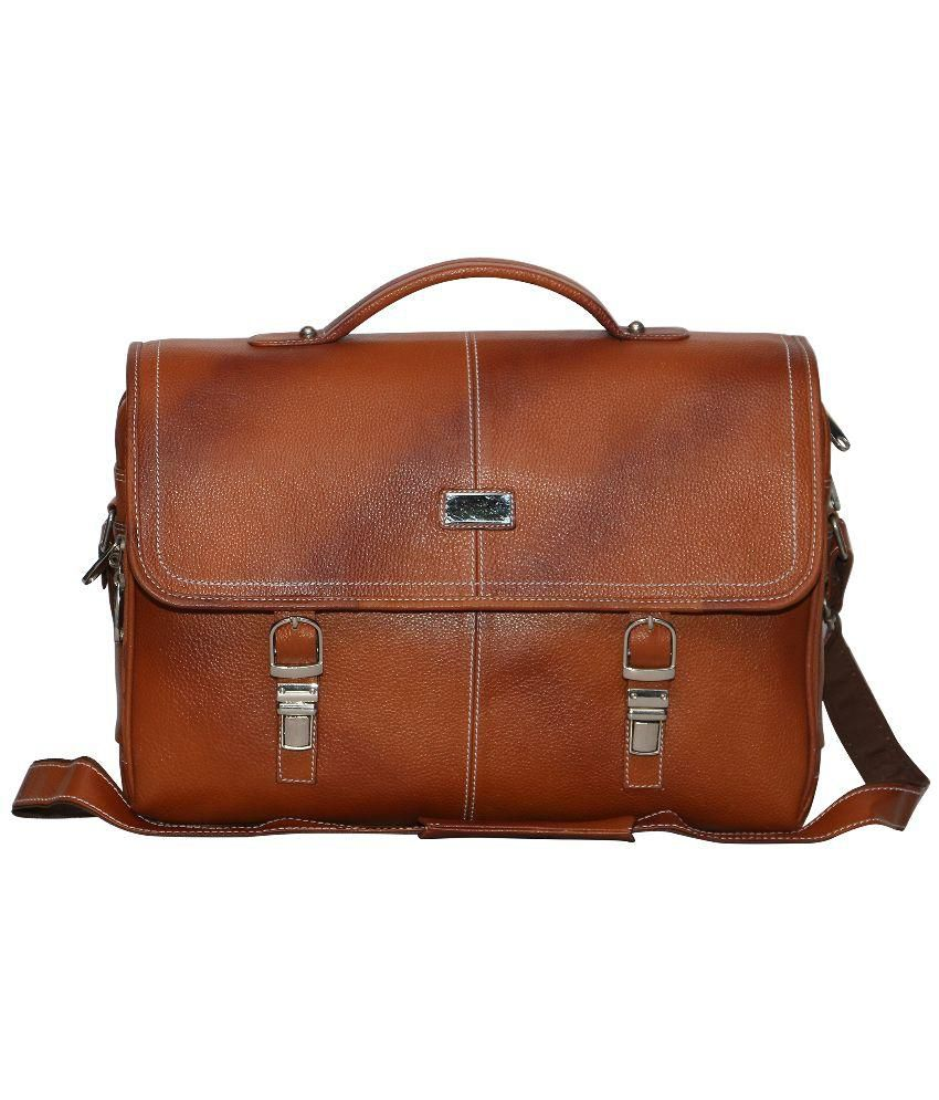 C Comfort Tan Leather Laptop Bag