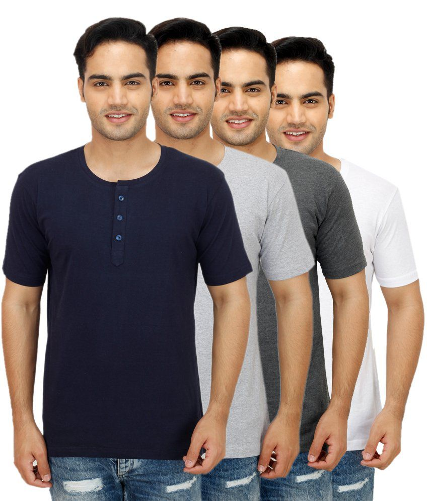 Ishmeet Multi Henley T Shirts Pack of 4