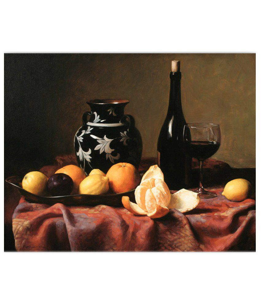 Vitalwalls Multicolour Still Life Paintings with Frame