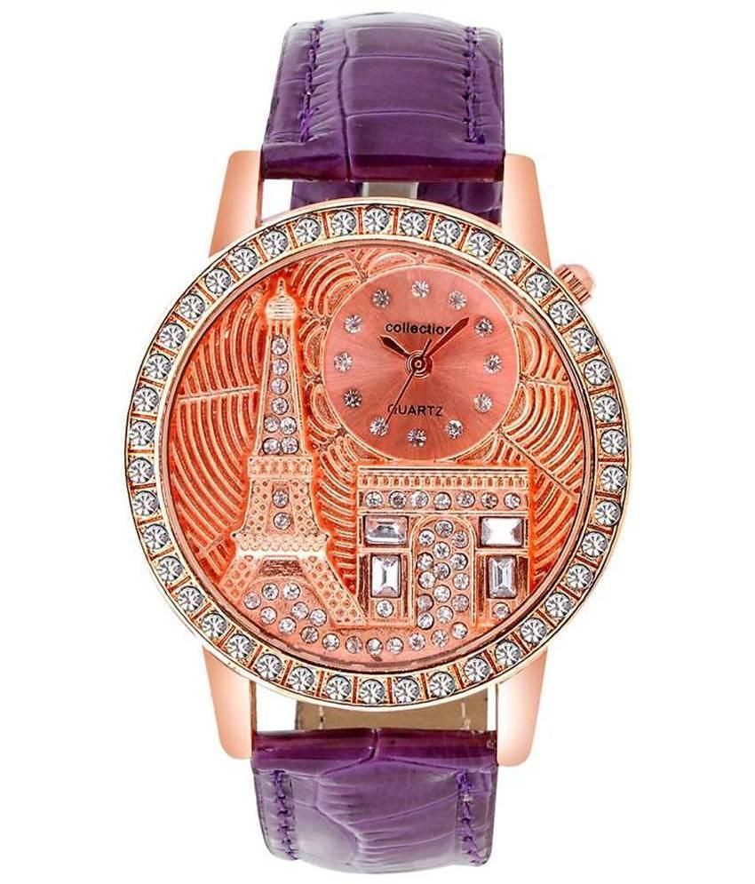 Cosmic Purple Leather Analog Watch for Women