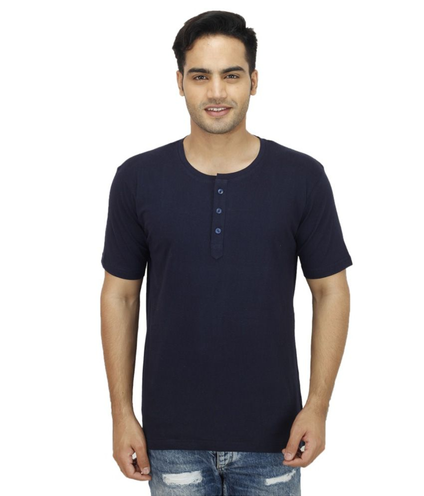 Rakshita's Collection Navy Henley T Shirts