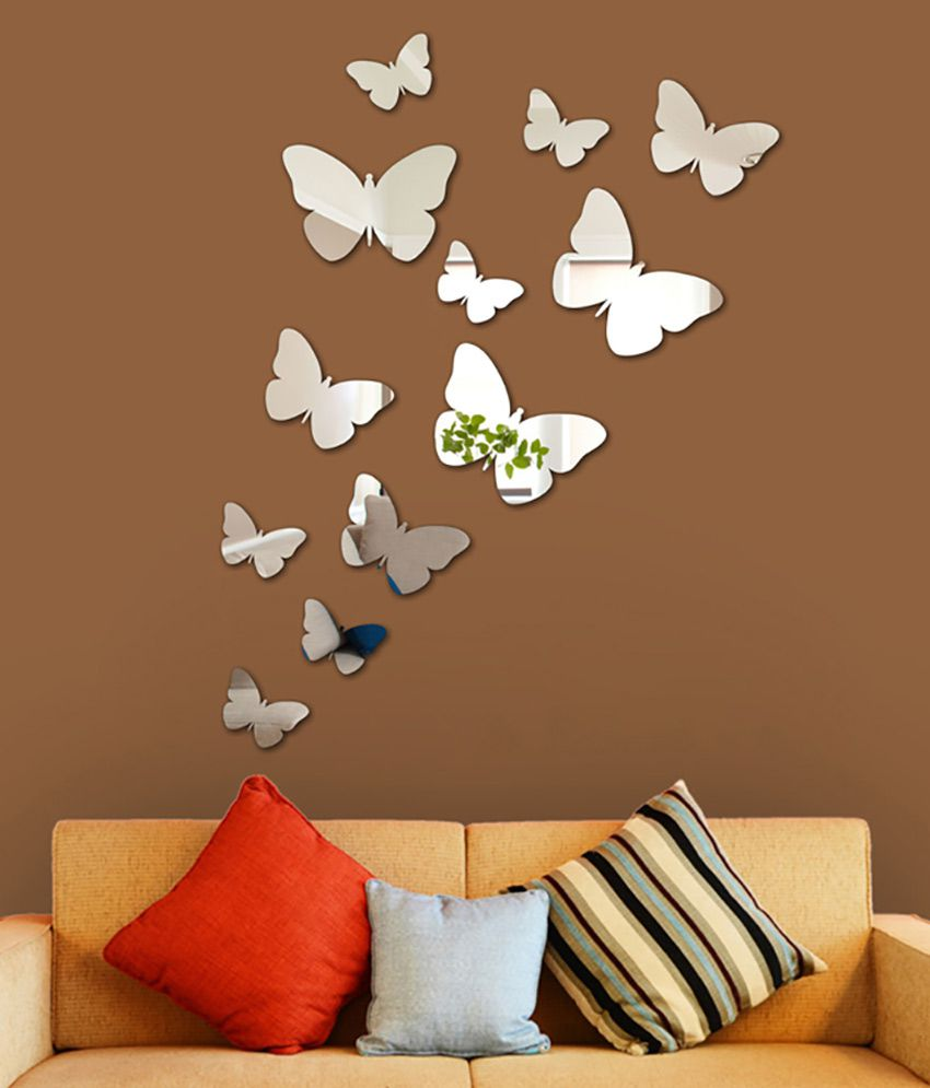 Wall1ders 3d acrylic mirror butterflies wall sticker buy for Sticker mural 3d