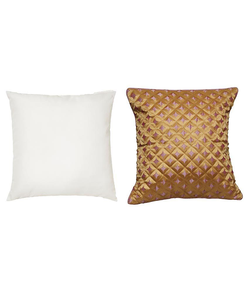 Car Vastra Brown & White Polyester Cushion Covers With Fillers Pack Of 2