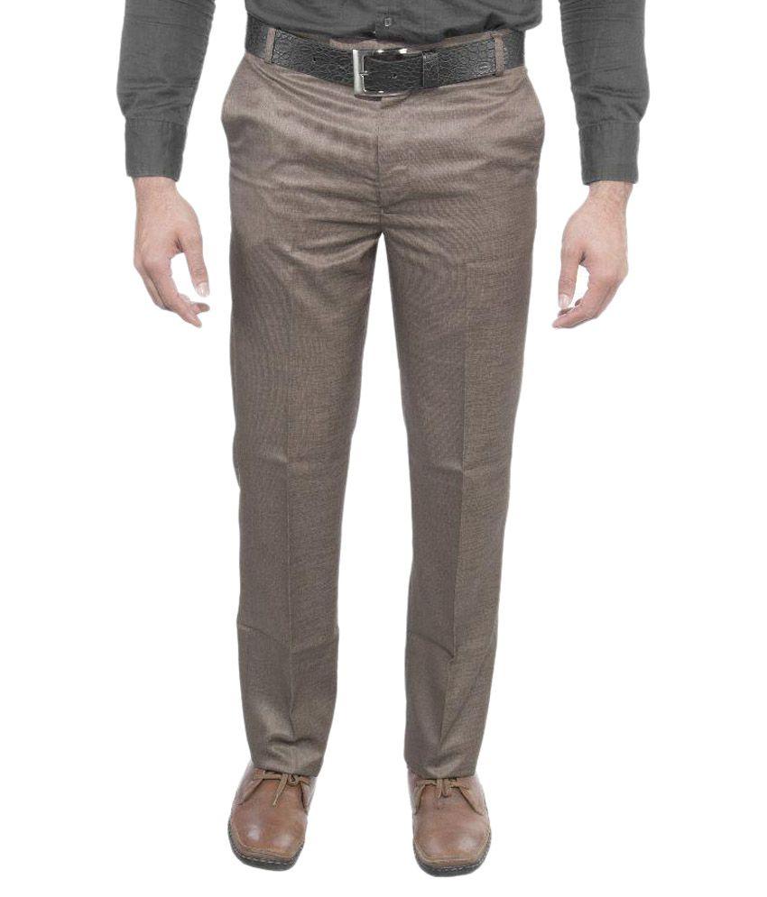 Machu Brown Regular Fit Flat Trousers