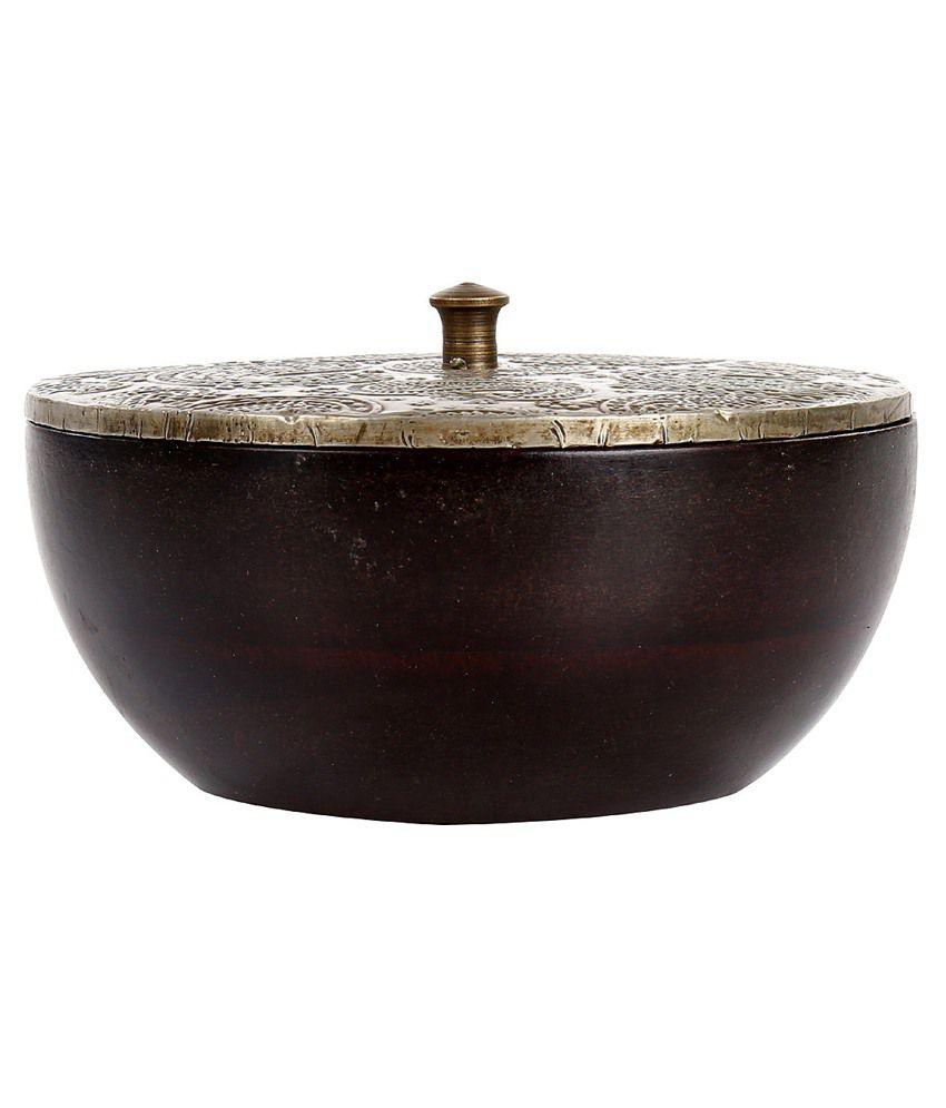 Rajrang Coffee Color Wood & Metal Paisley Pattern Jewellery Box