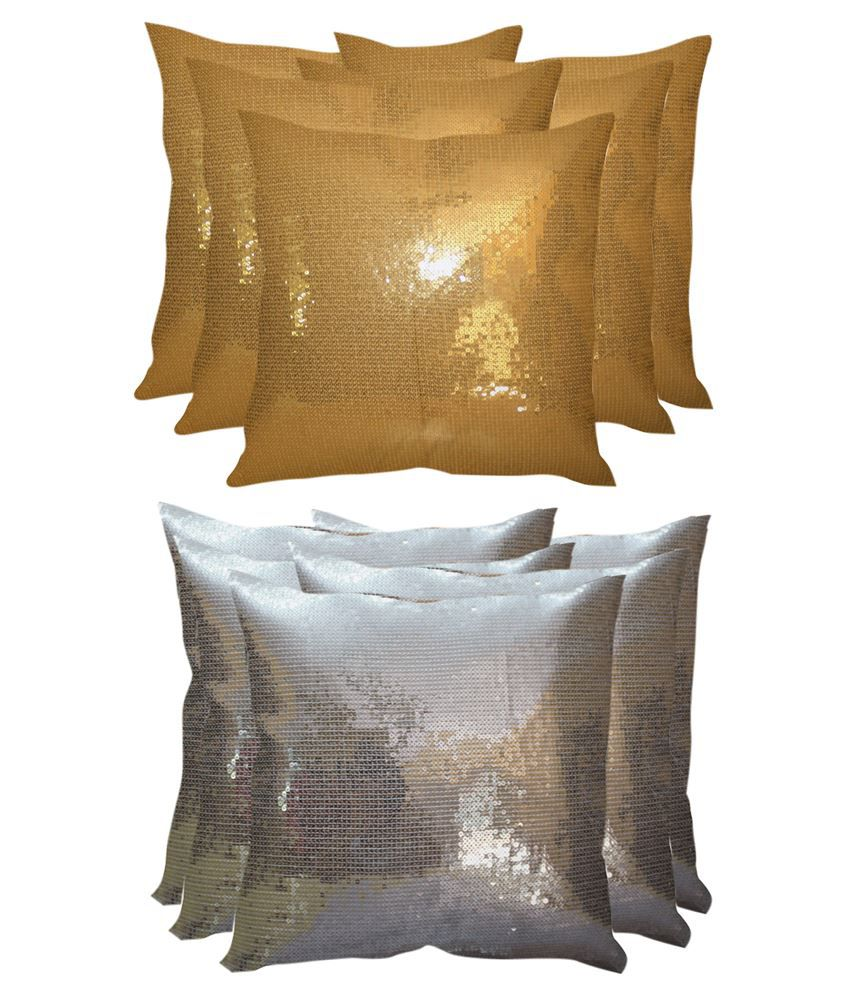 Stybuzz Golden & Silver Polyester Cushion Cover Set Of 10
