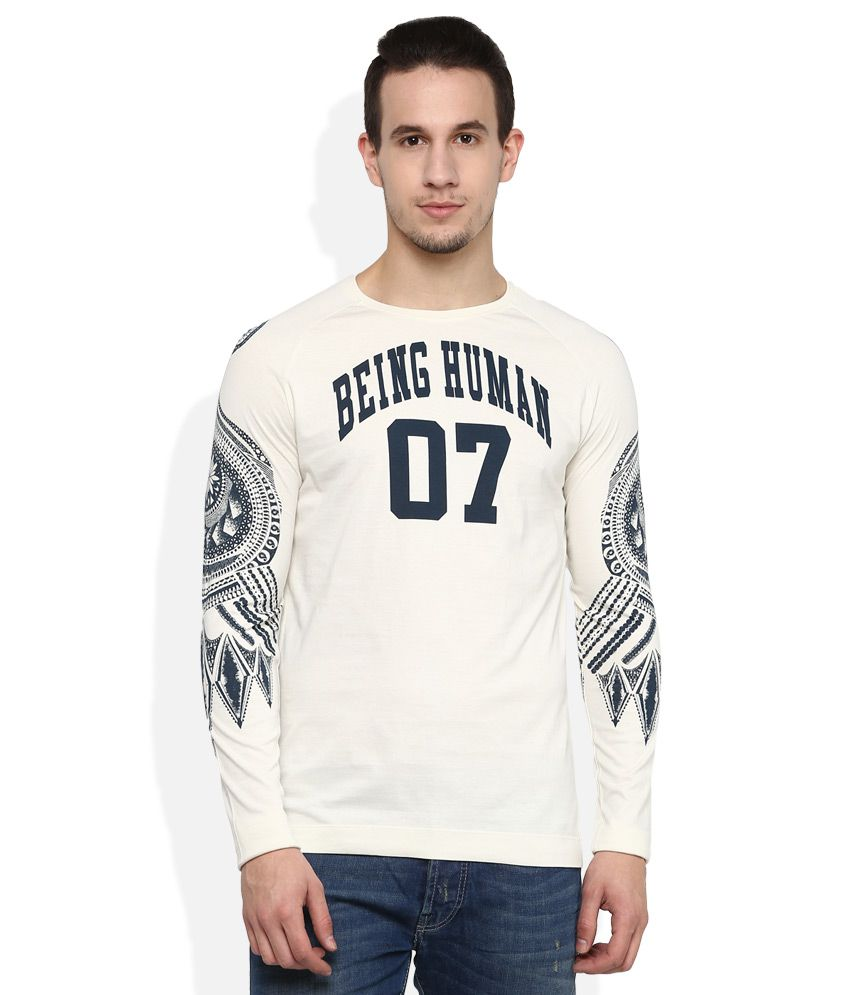 Being Human Beige Round Neck T Shirt