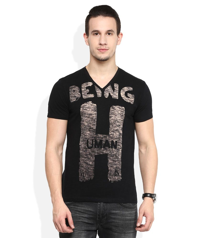 being human black v neck t shirt buy being human black v neck t shirt online at low price. Black Bedroom Furniture Sets. Home Design Ideas