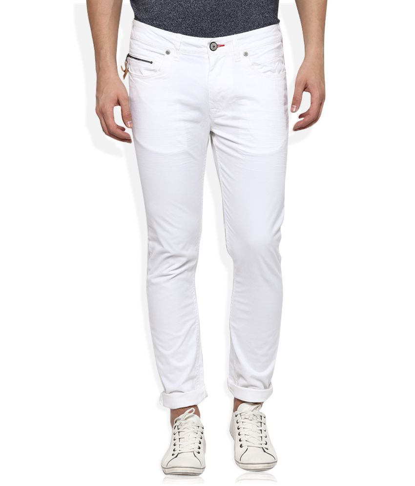 Being Human White Slim Fit Chinos