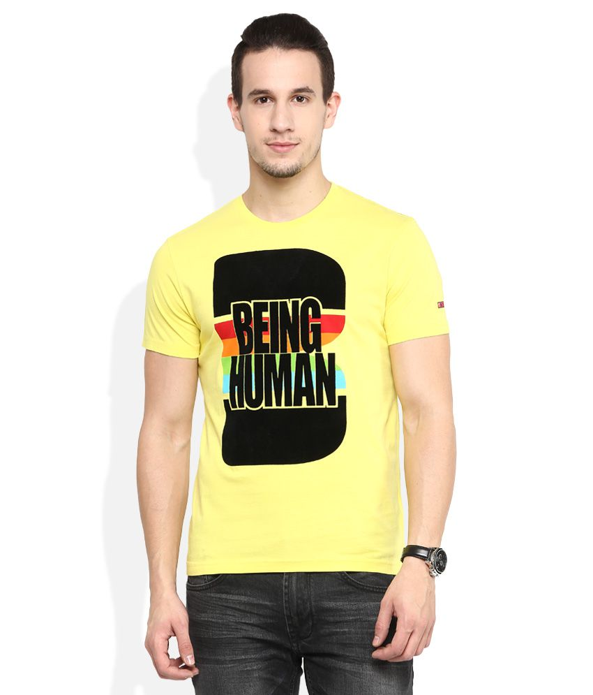 Being Human Yellow Round Neck T Shirt