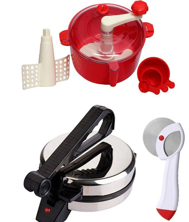 GTC Combo Of National Roti Maker, Red Dough Maker And Pizza Cutter