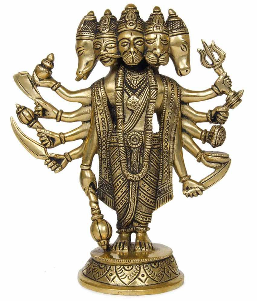 Imlistreet Golden Brass Hanuman Five Faces Idol
