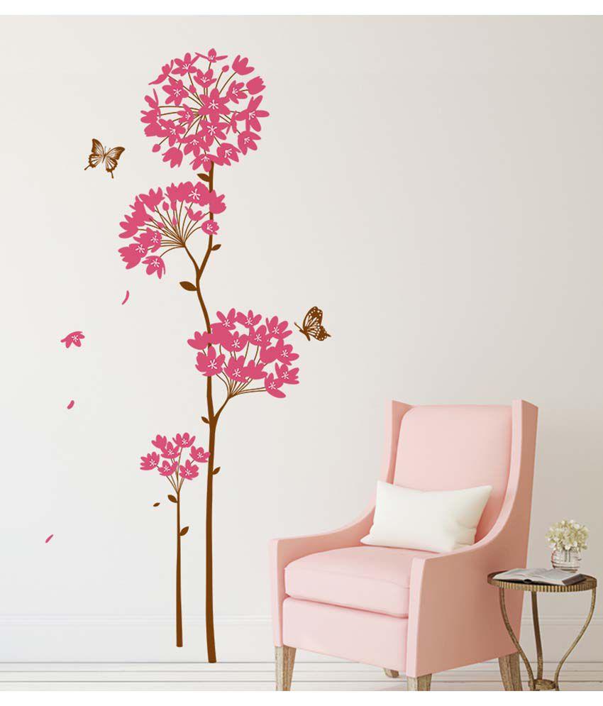 Stickerskart Multicolor Flowers Pink Dandelion Large Size