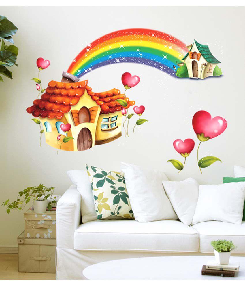 Cartoon Room: Stickerskart Multicolor Nursery Room Cartoon Hut With