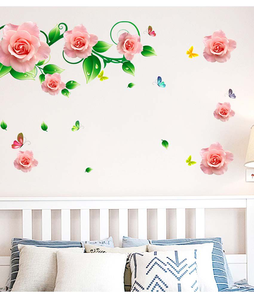 romantic bedroom roses. Stickerskart Multicolor Roses Vines And Motifs In Pink Romantic Bedroom Design Home Decoration Vinyl Wall Stickers H
