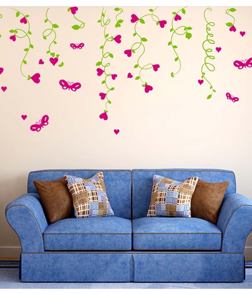 stickerskart multicolor sofa background lovely hearts hanging from vines living room design wall. Black Bedroom Furniture Sets. Home Design Ideas