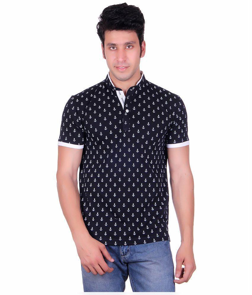 Vivid Bharti Navy Henley T Shirts