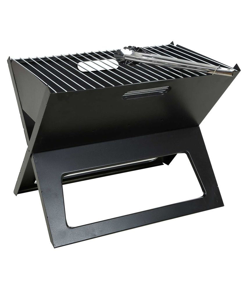 Fabrilla Barbeque Charcoal Portable Grill Folding - Black With 4 Skewers Iron Bar-Be-Que