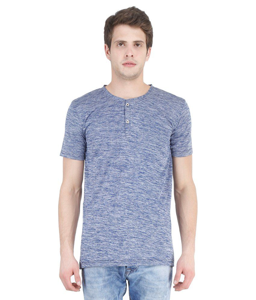 New Fashion Blue Henley T Shirts