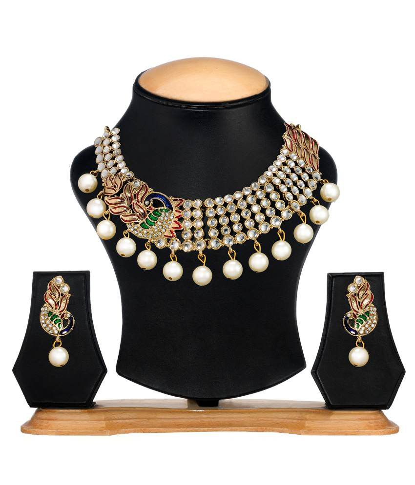 Zaveri Pearls Peacock Pattern Necklace Set