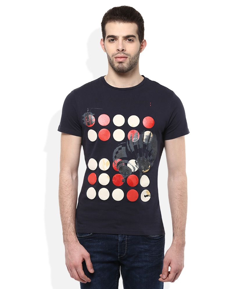 GAS Navy Printed T-Shirt