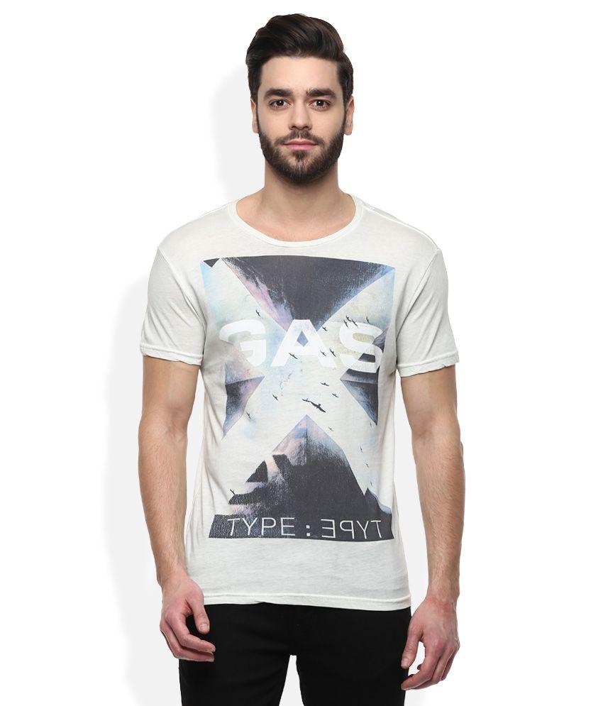 GAS Off-White Printed T-Shirt