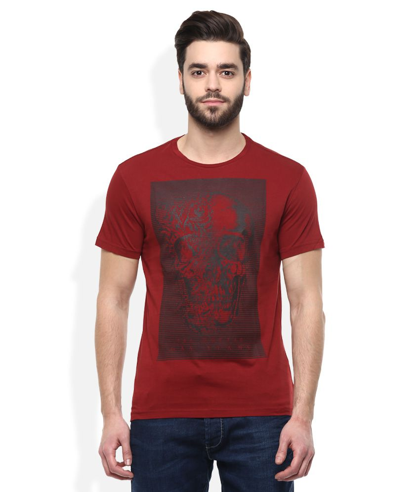 GAS Red Printed T-Shirt
