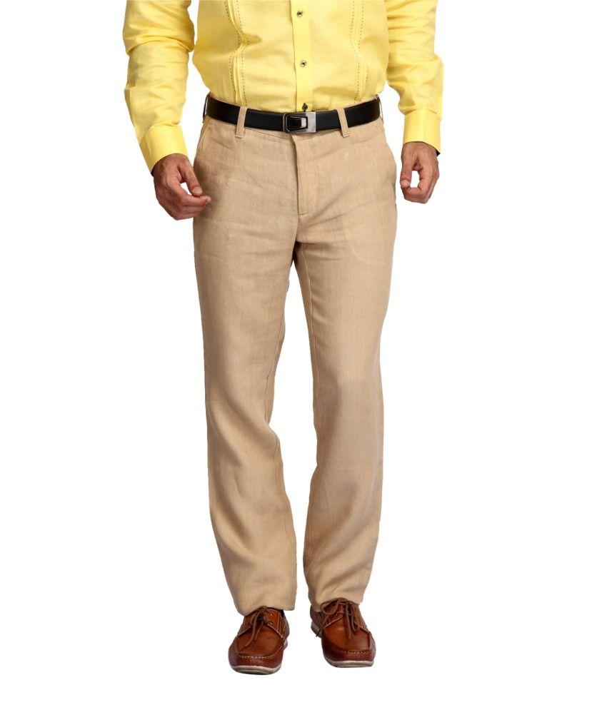 Jadeblue Beige Regular Fit Flat Trousers