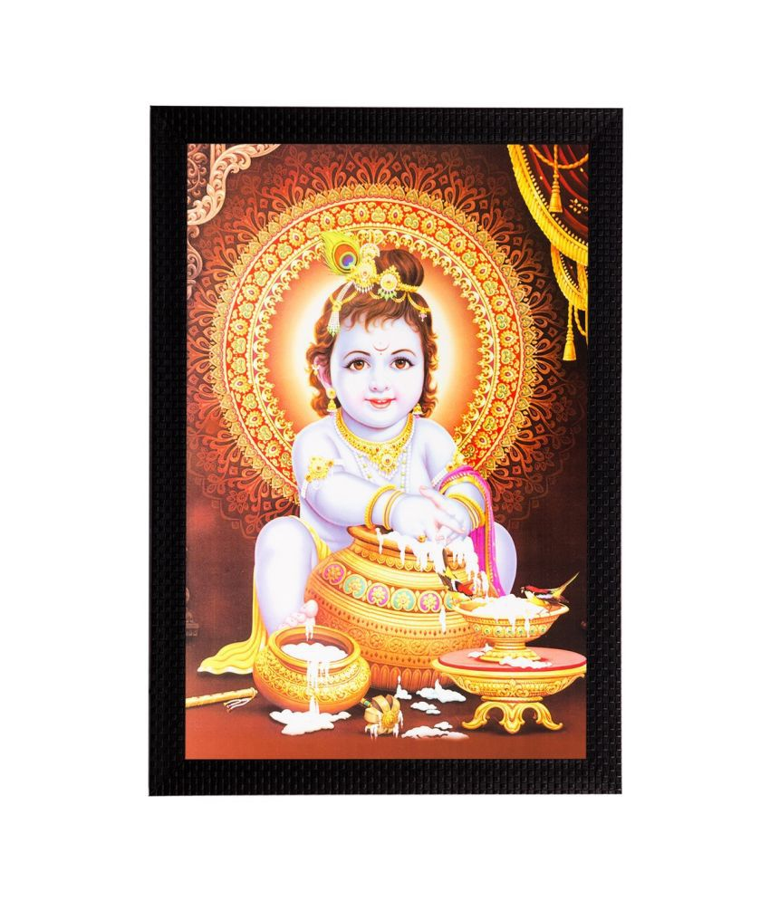 eCraftIndia Laddu Gopal Matt Textured Framed UV Art Print