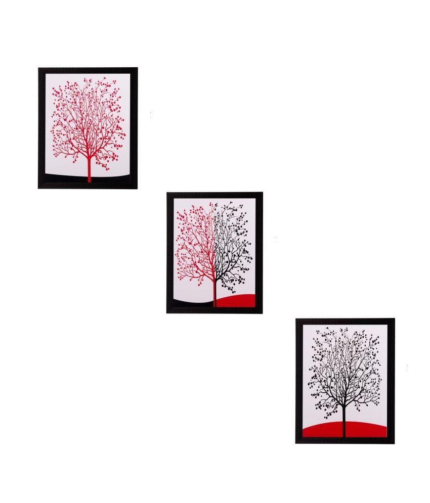 eCraftIndia Set of 3 Abstract Tree Matt Textured Framed UV Art Print