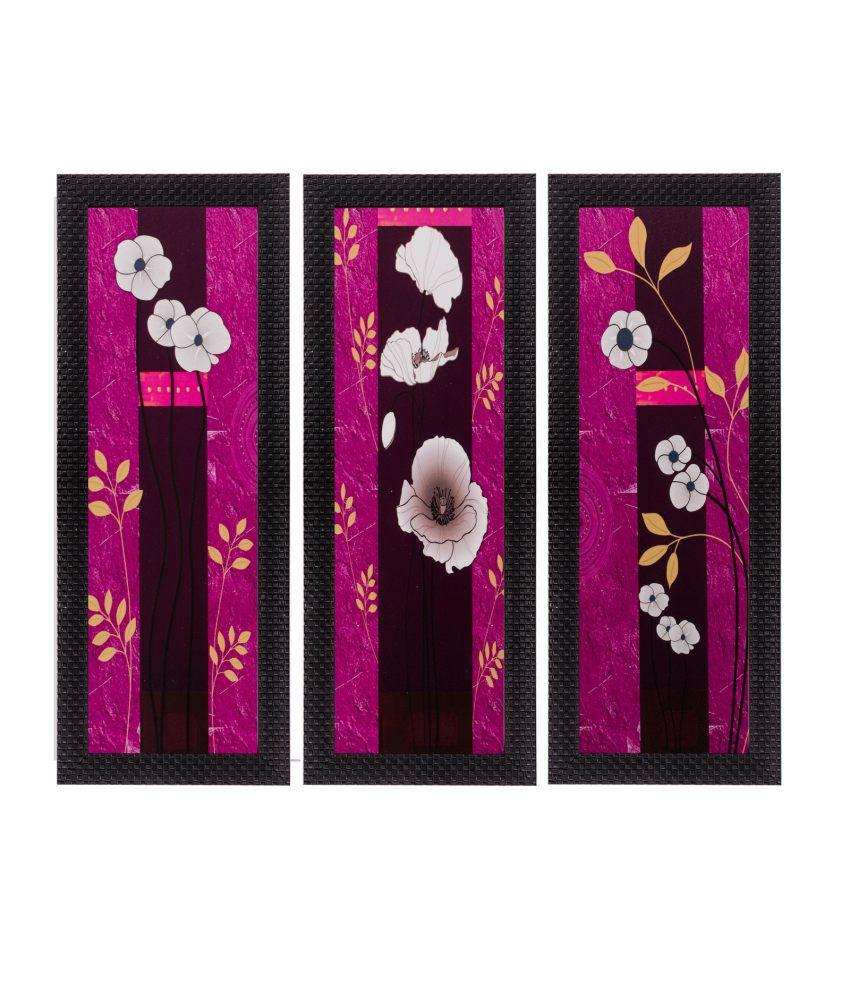 eCraftIndia Set of 3 Floral Matt Textured Framed UV Art Print