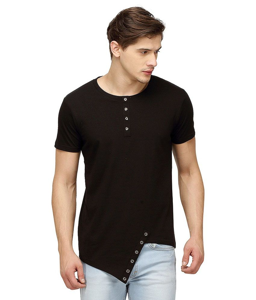 Campus Sutra Black Henley T Shirts