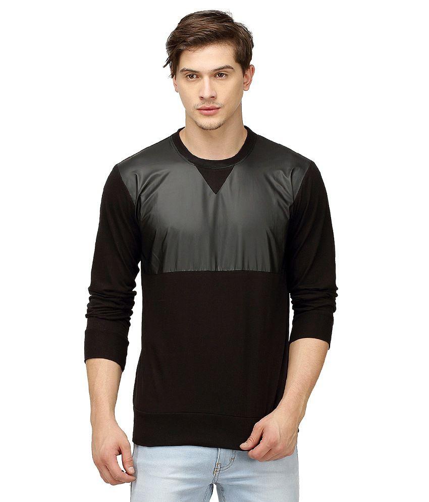 Campus Sutra Black Round T Shirts
