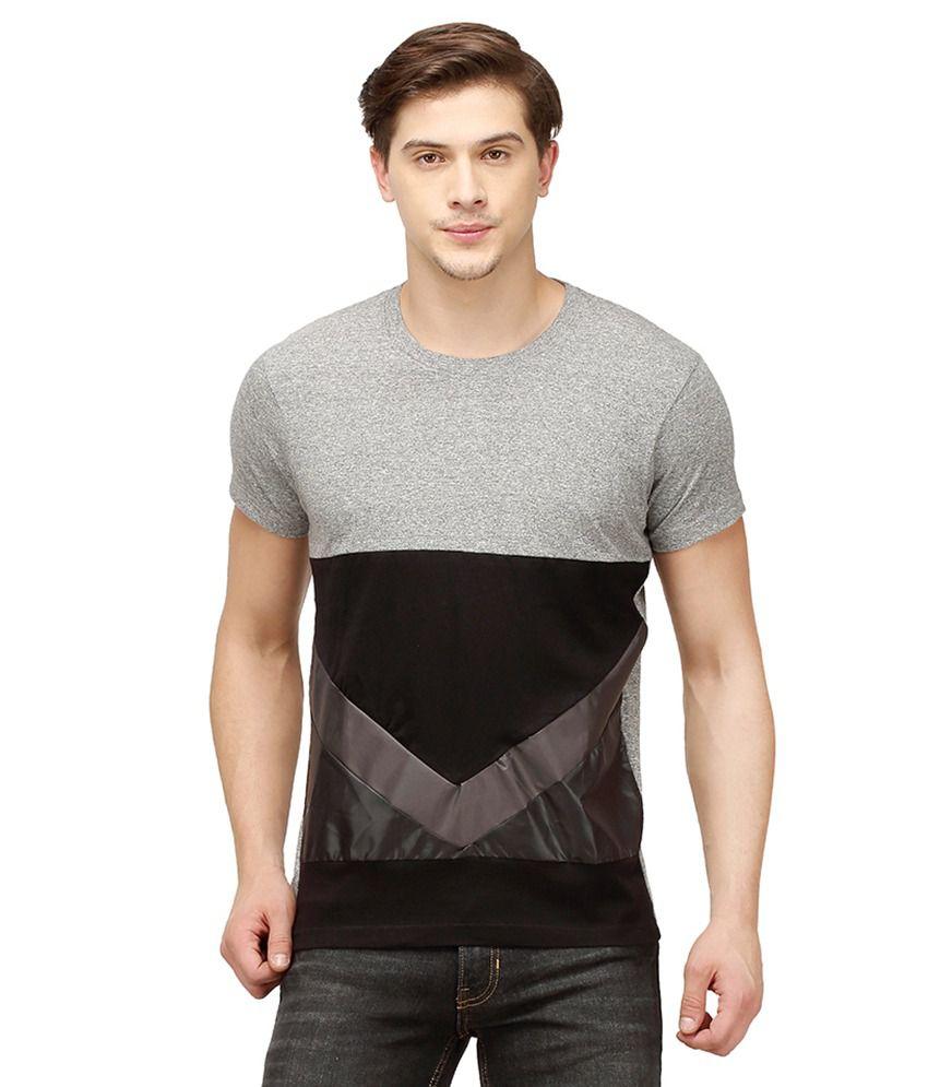 Campus Sutra Grey Round T Shirts