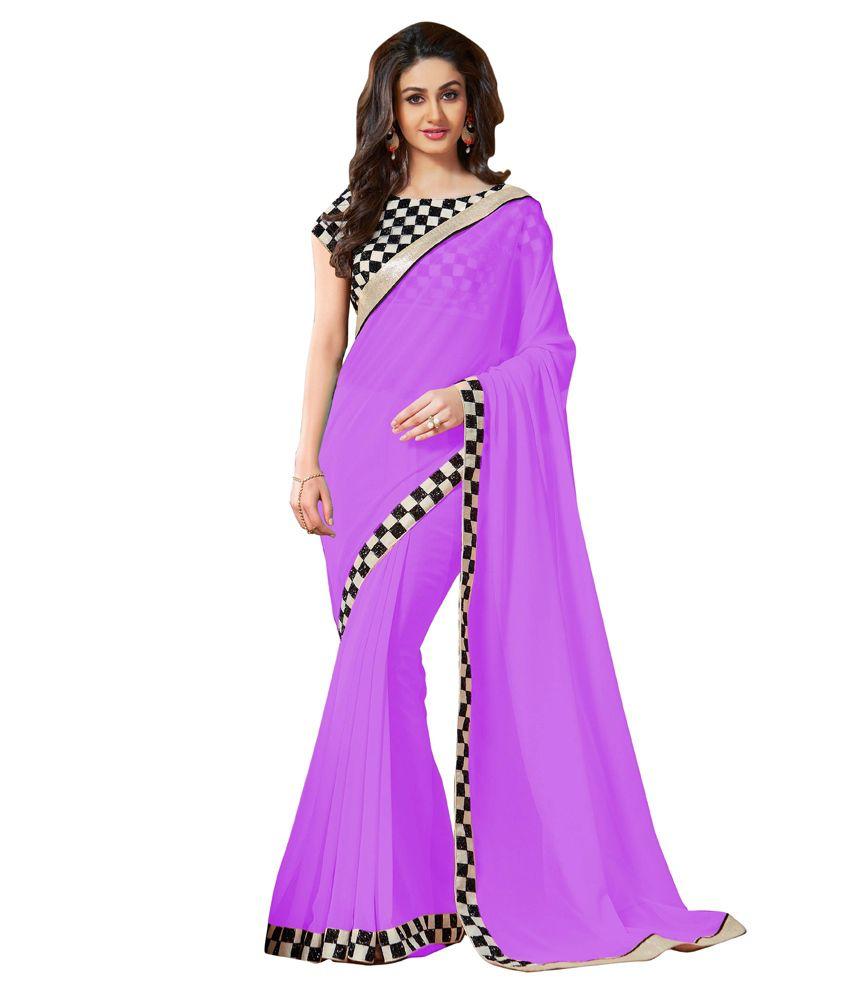 Elevate Women Purple Faux Chiffon Saree