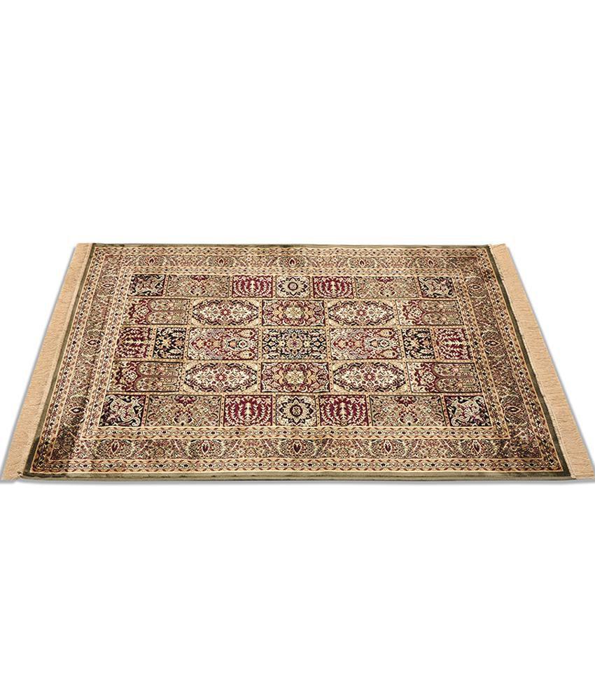 Furnishingland Multicolour Traditional Silk Carpet 4x6 Ft.